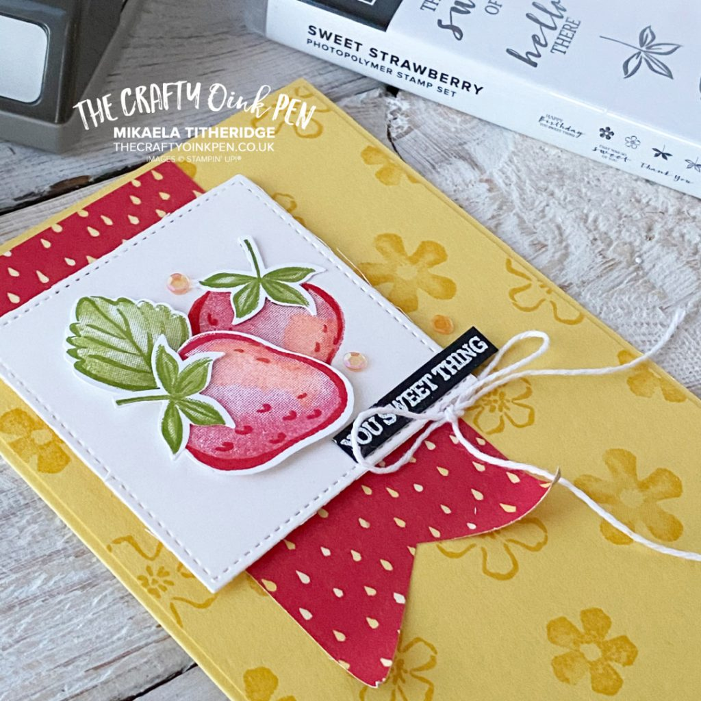 Handmade card using Sweet Strawberry Punch and Berry Blessings Papers