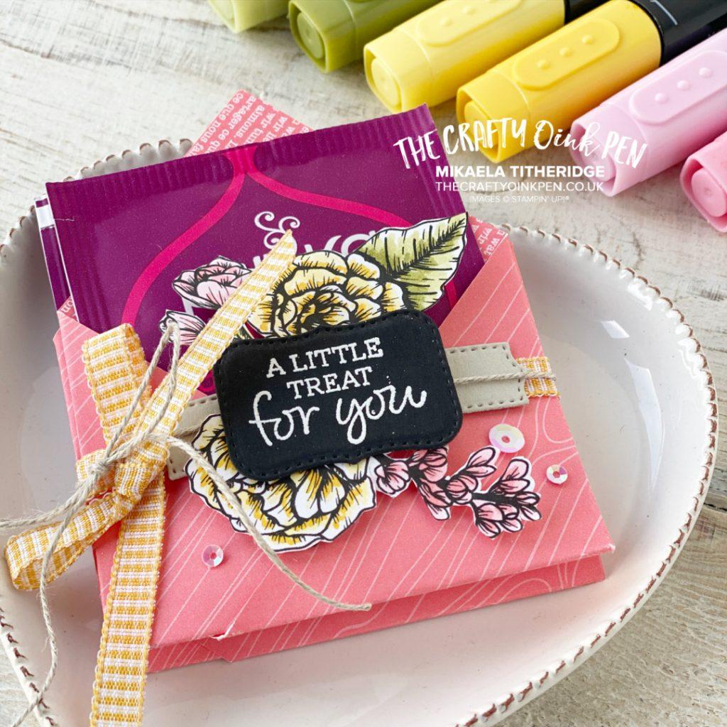 Handmade Teabag Treat Holder using True Love Flowers Paper coloured with Blends Pens