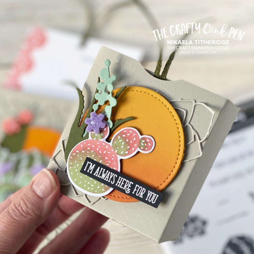 Handmade gift box using Flowering Cactus and a glowing sunset