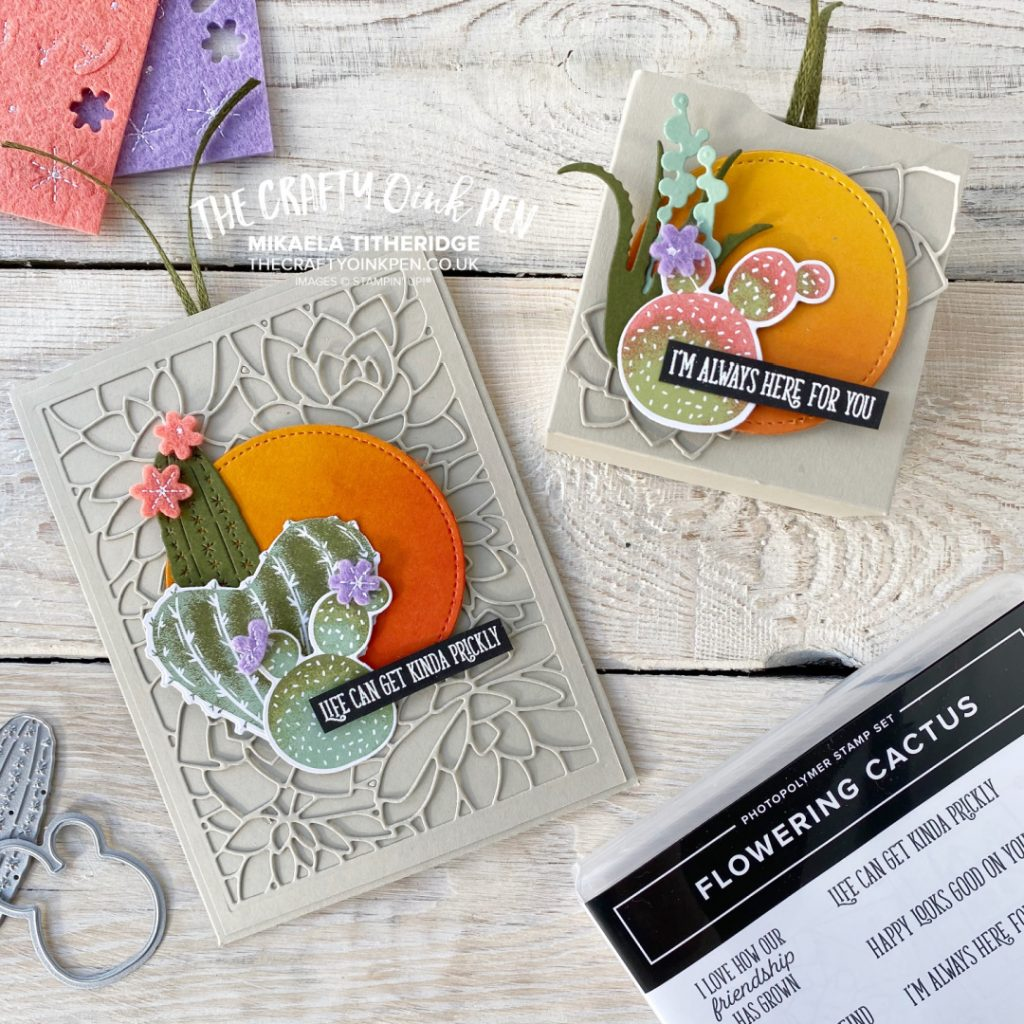 Flowering Cactus with a glowing sunset to the front of a handmade slider card and gift box with a succulent die cut layer
