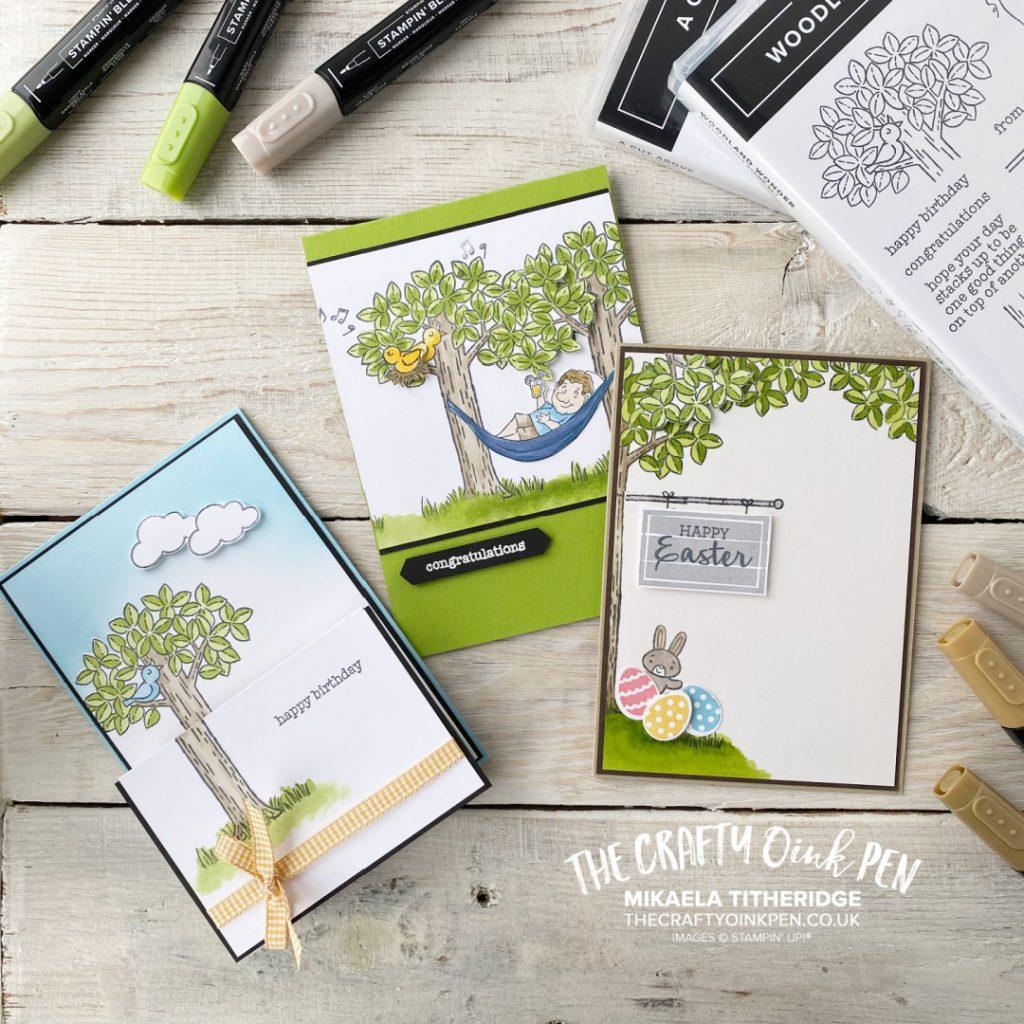 Handmade set of cards using Stampin' Up! Woodland Wonder Trees and animals