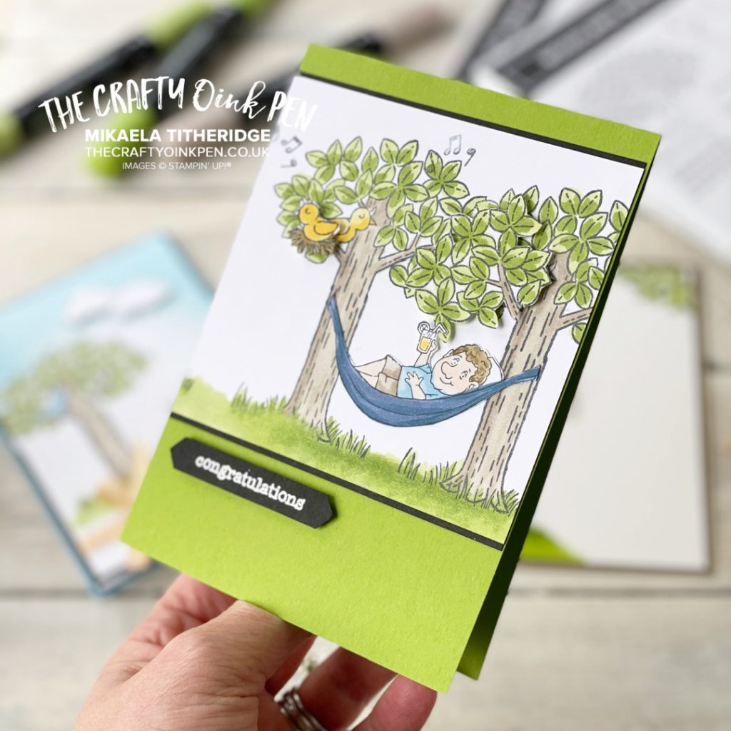 Handmade Retirement card using A Cut Above and Woodland Wonder. Man in Hammock hanging from trees
