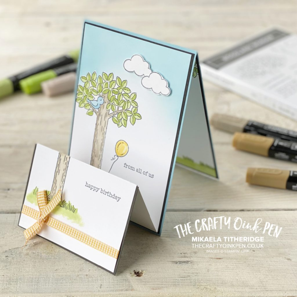 Handmade double tent card made using Woodland Wonder a tree with cute animals