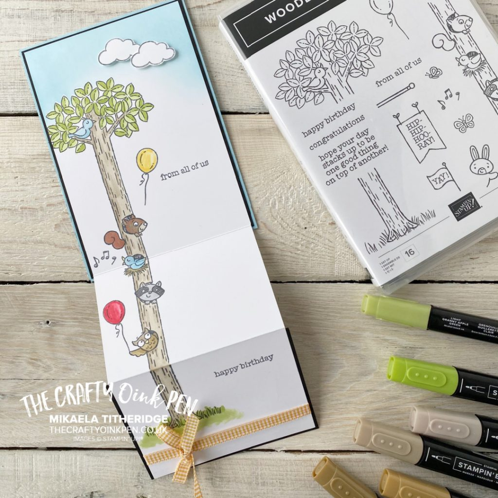 Handmade Extended cute card using Woodland Wonder by Stampin' Up! with a Tree and cute animals