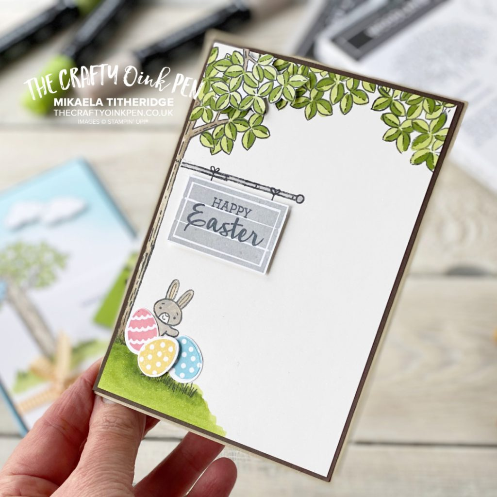 Handmade Easter Card made using Stampin' Up! Woodland Wonder and Wreath Builder