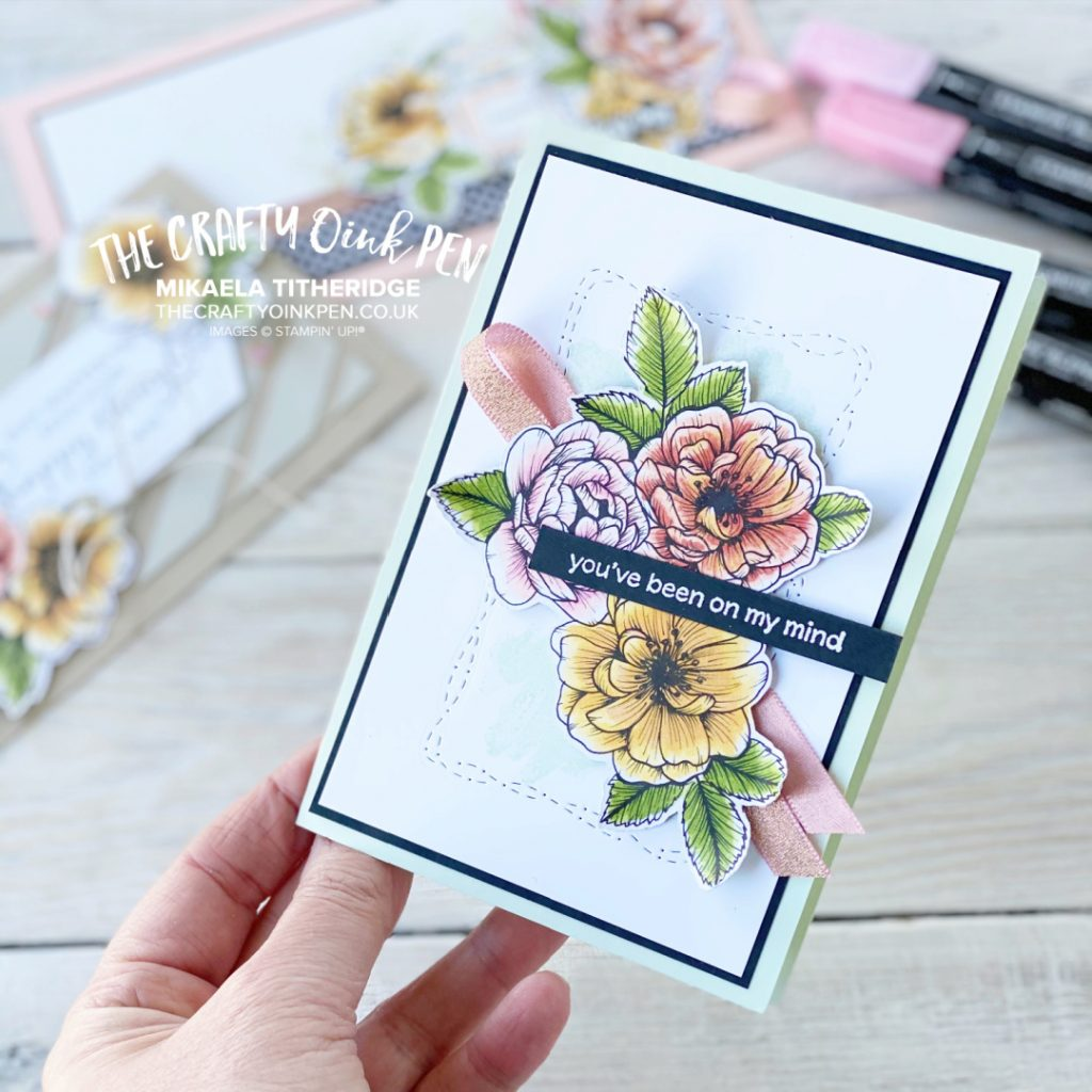 Handmade floral card to say I'm thinking of you. Coloured using Alcohol Blends Pens