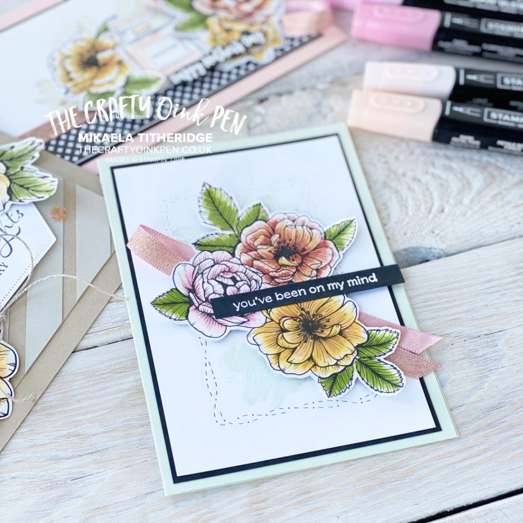 Handmade Floral Card using True Love Papers coloured with Alcohol Blends Pens