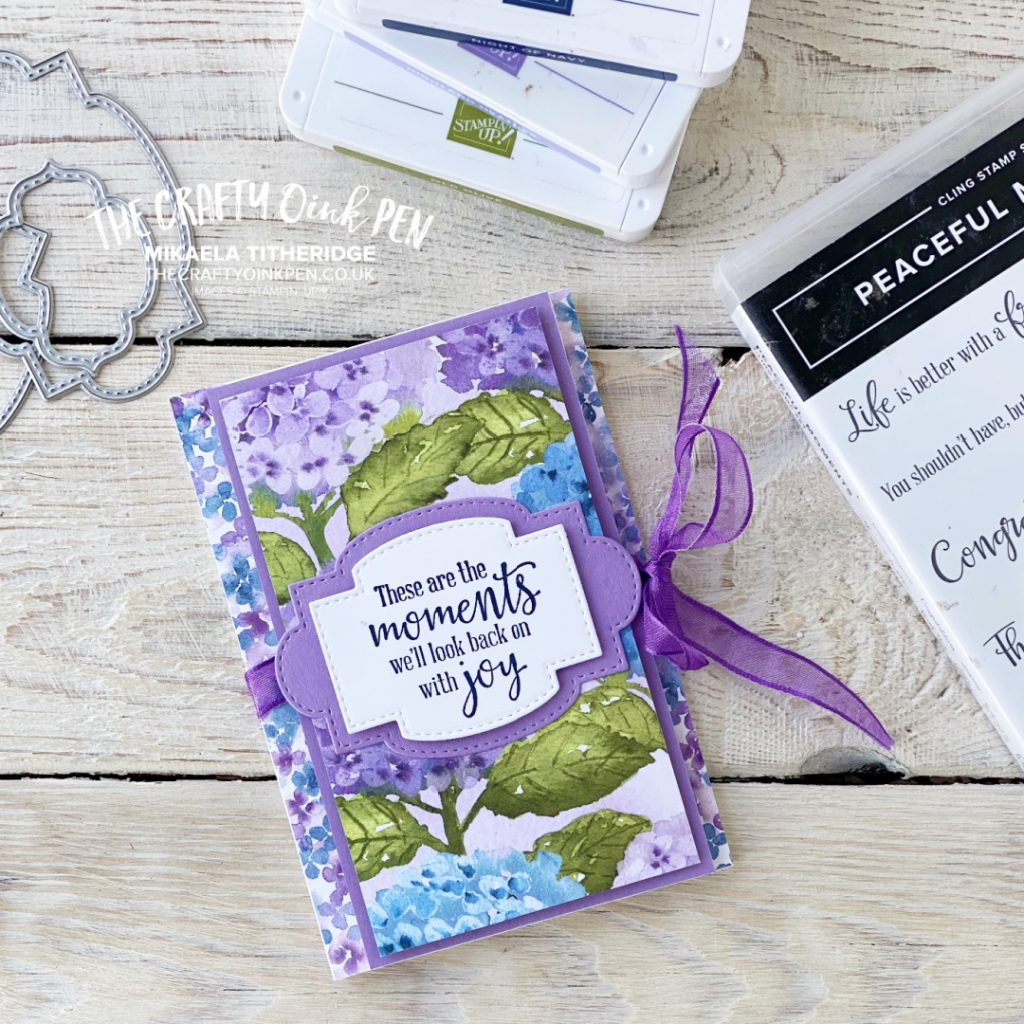 Handmade tri-fold card using Hydrangea Hill Suite Papers and Peaceful Moments