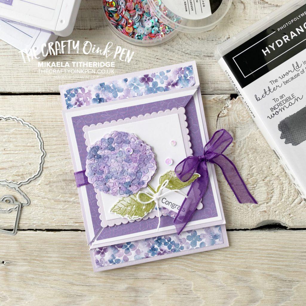 Handmade twisting fun fold card using Hydrangea Hill Suite