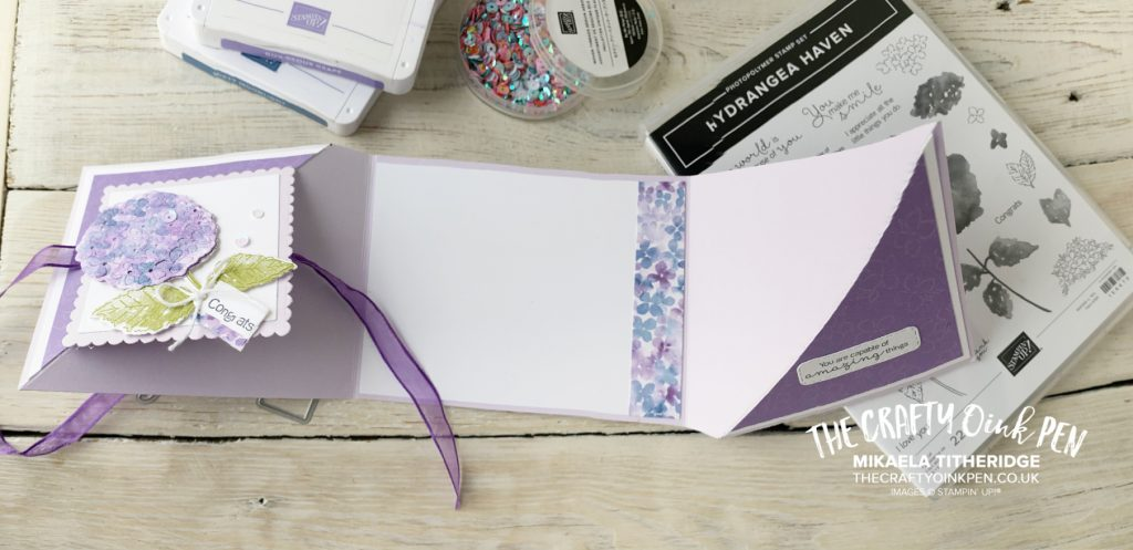 Handmade twisting fun fold card made using hydrangea hill suite