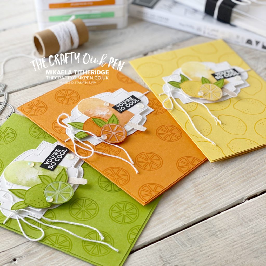 Handmade card set of citrus ice lolly three cheers birthday cards