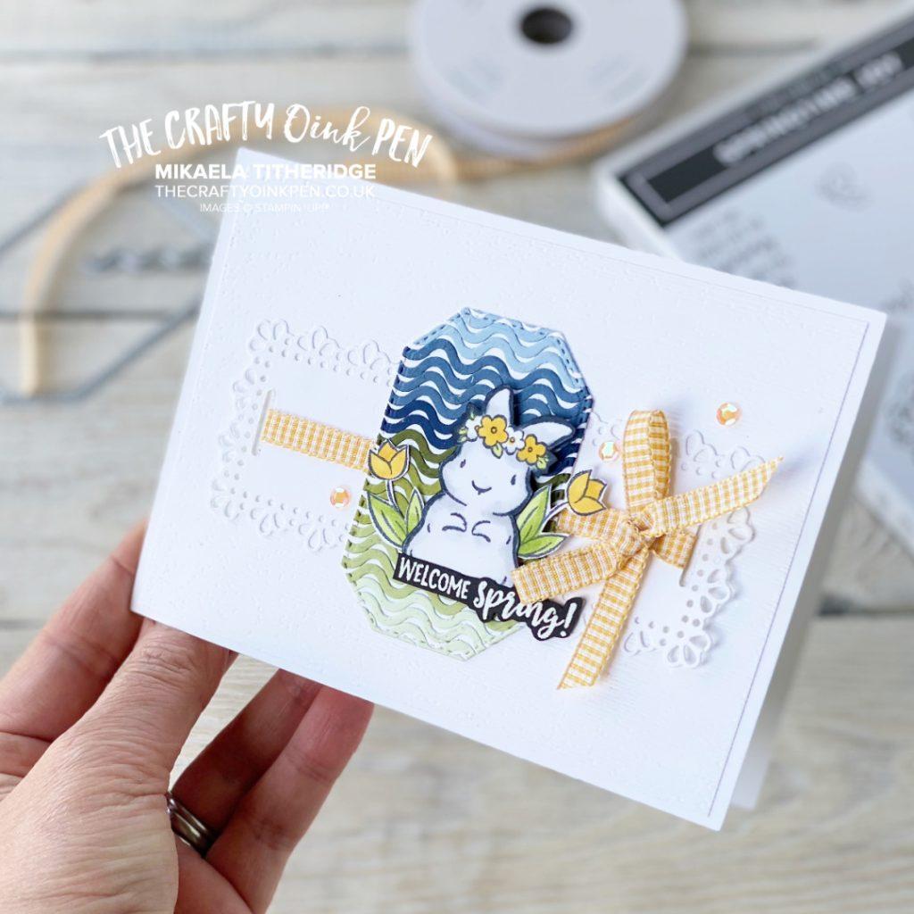 Handmade springtime joy card with gingham ribbon and spring bunny
