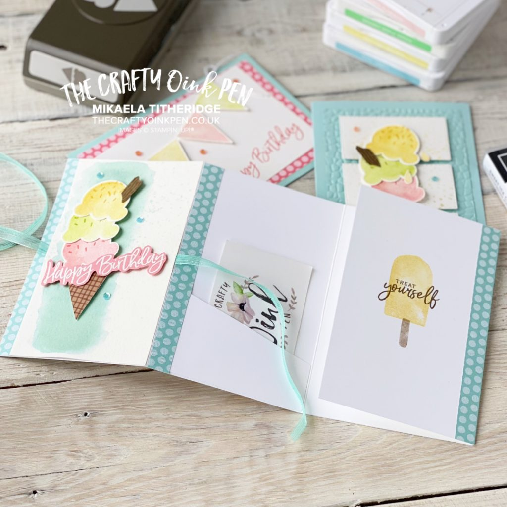 Handmade Voucher / Money Wallet Card using Stampin' Up! Sweet Ice Cream Cone Builder Punch and stamp set