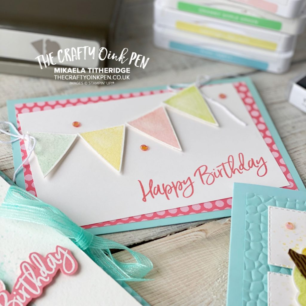 Handmade Birthday Card using Sweet Ice Cream Stamp Set and Cone Builder Punch for Pennants Banner rather than an ice cream