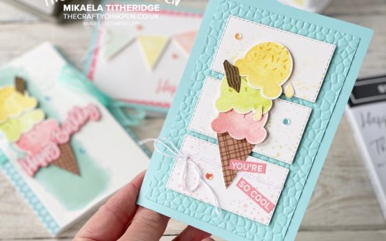Handmade Card using Sweet Ice Cream Stamp set and Cone Builder Punch