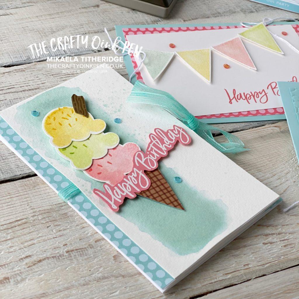 Handmade Voucher / Money wallet card using Sweet Ice Cream Stamp Set and Cone Builder Punch