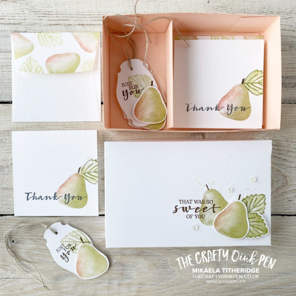 "Handmade 3"" x 3"" Notecards and Tags in a Lidded Box made using the Sweet Strawberry Builder Punch and making Pears"