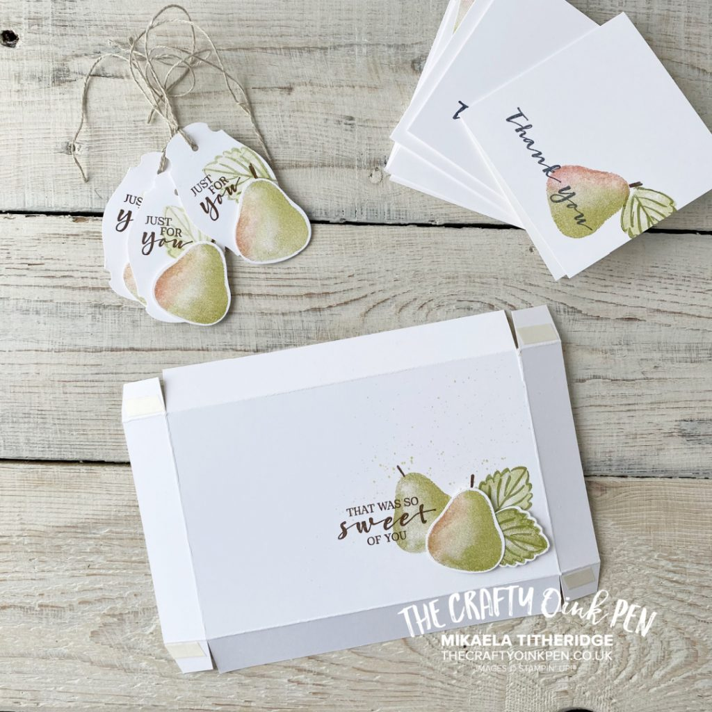 Handmade Box Lid for Notecards and Tags making Pears from Sweet Strawberry set and Punch