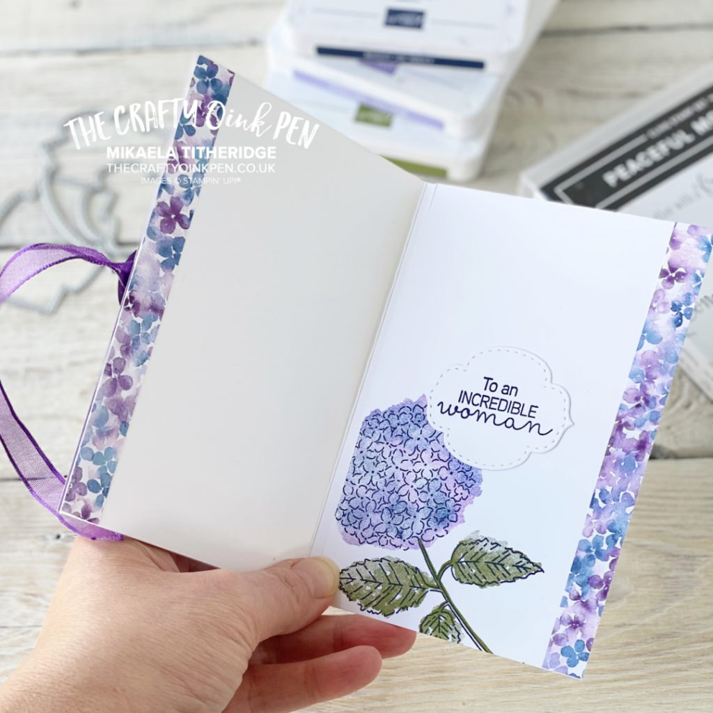 Handmade tri-fold card using Hydrangea Hill Papers and Peaceful Moments stamp set
