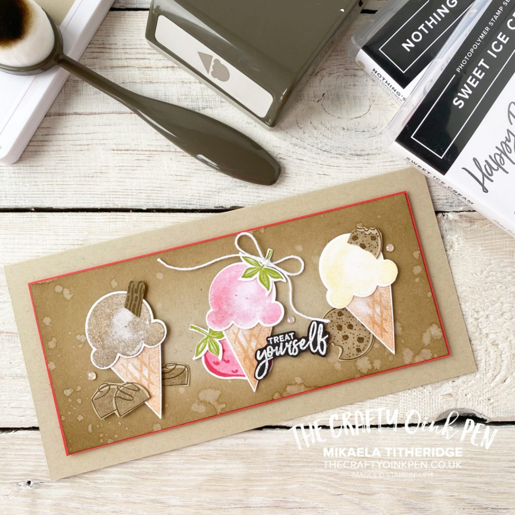 Handmade Card with a Trio of Ice Creams on from the Ice Cream Corner by Stampin' Up!