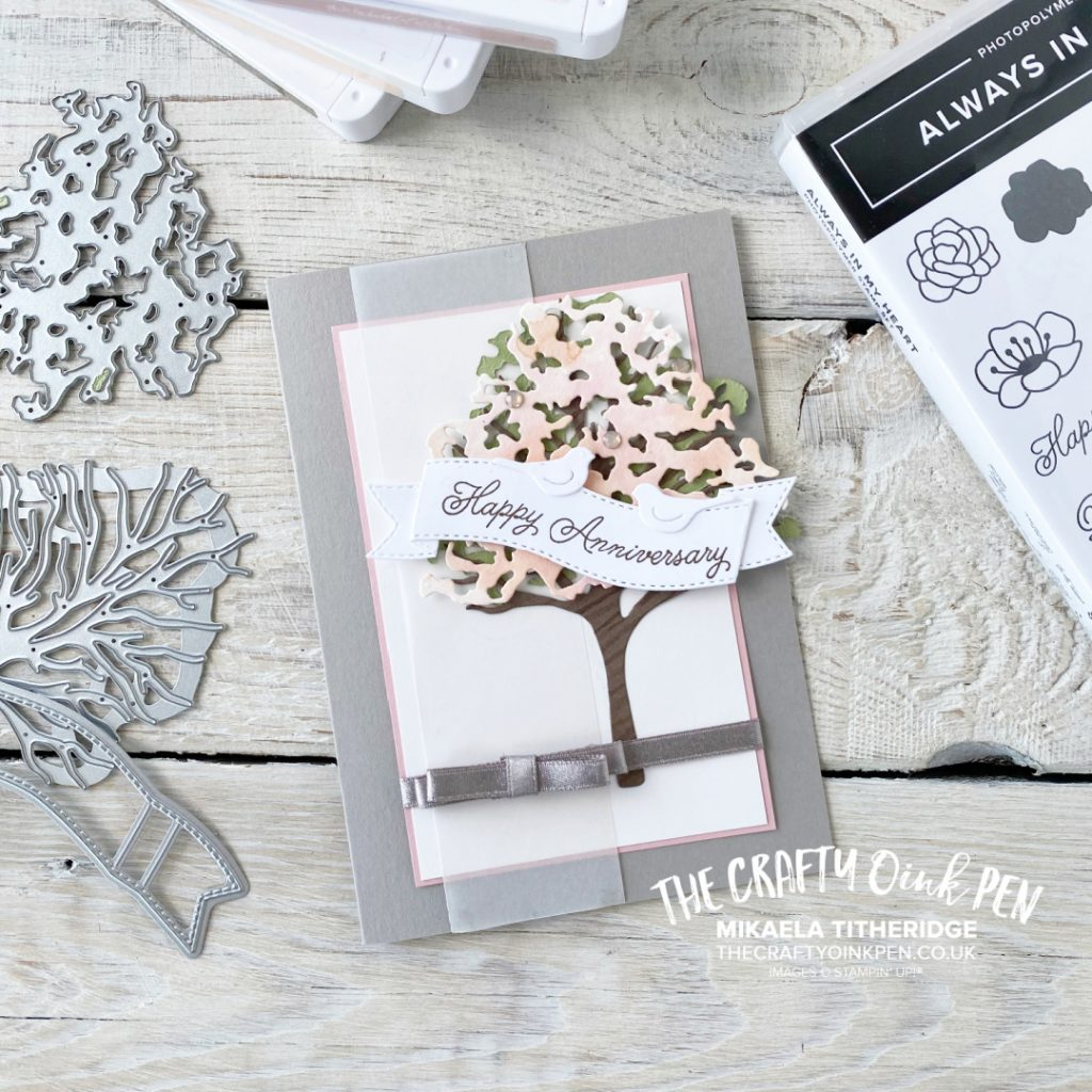 Stampin' Creative Sketch Challenge for an Anniversary Card using Beautiful Tree Dies