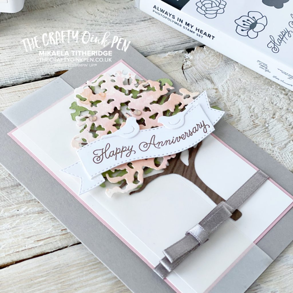 Stampin' Creative Sketch Challenge Anniversary card using Beautiful Tree Dies and Always in my Heart