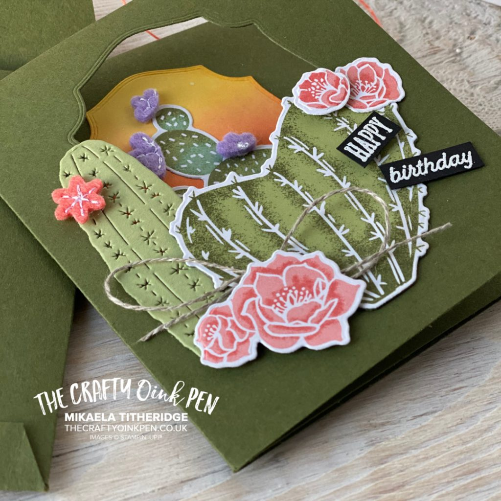 Stampin' Up! Flowering Cactus Product Medley helped create this tri-fold card and envelope for the all Star tutorial Blog Hop by Mikaela Titheridge