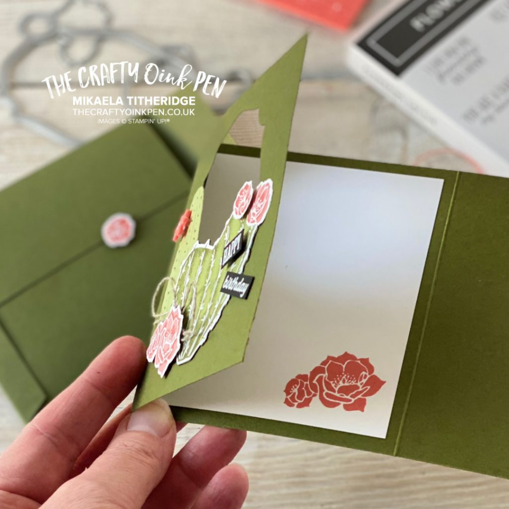 Stampin' Up Flowering Cactus for a tri-fold card made by Mikaela Titheridge, UK Demo