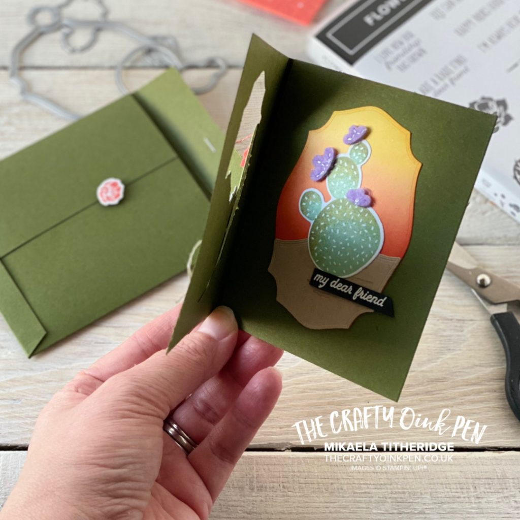 Stampin' Up! Flowering Cactus Product Medley for a tri-fold card and envelope wallet