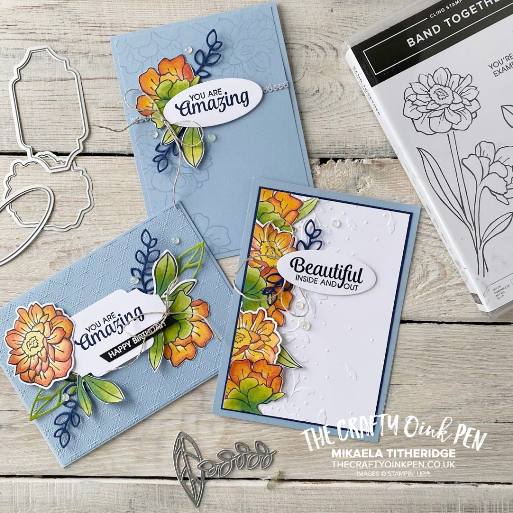 Stampin' Up! Band Together Facebook Live set of three handmade greetings cards