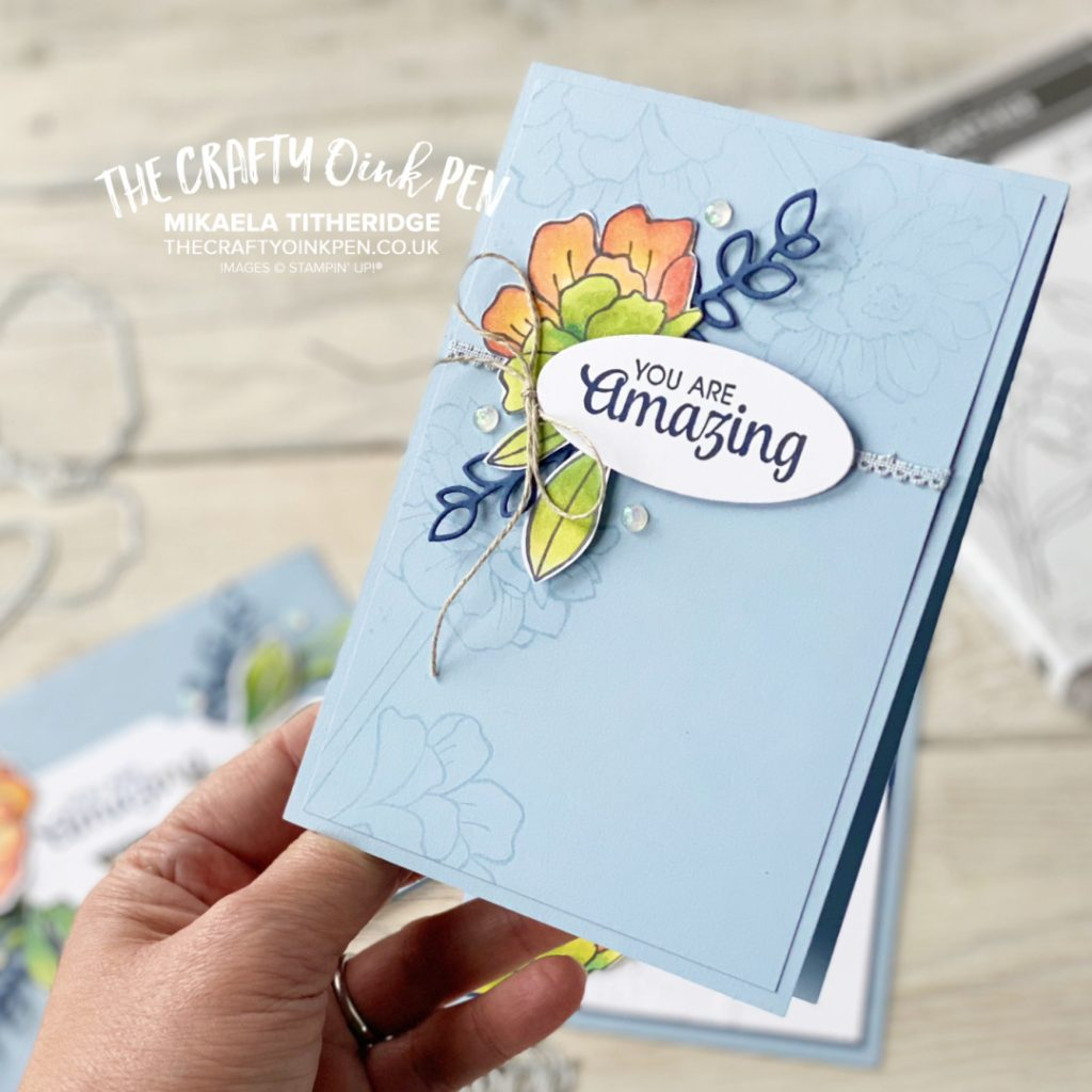 Stampin' Up! Band Together with background stamping and alcohol blends colouring