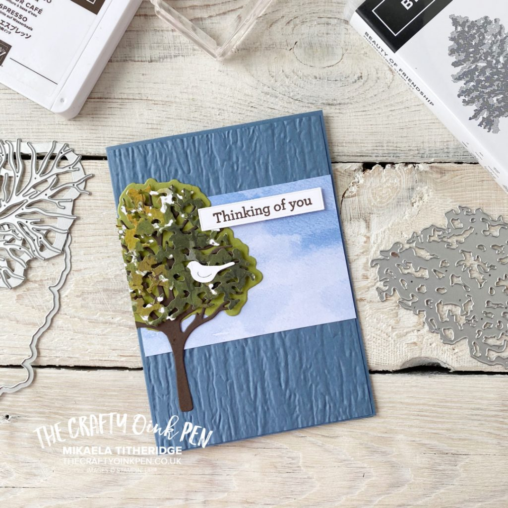 Stampin' Up! Beauty of the Earth and Bark Embossing Folder for a Handmade Thinking of you Card