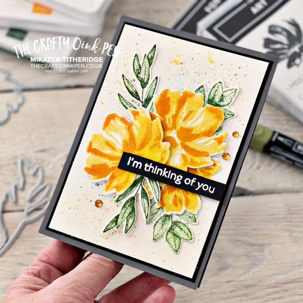 Handmade Greetings card made using Stampin up products and the Floral Art Gallery Stamp set