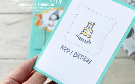 Stampin' Up! Party Puffins Cake Birthday card
