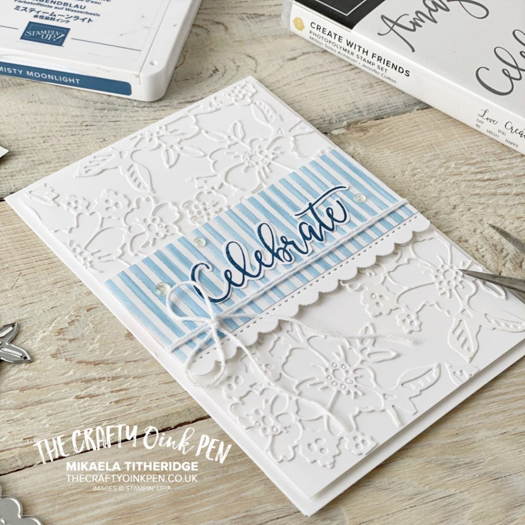 Stampin' Up! Handmade Card using Penned flowers Dies for a lace effect