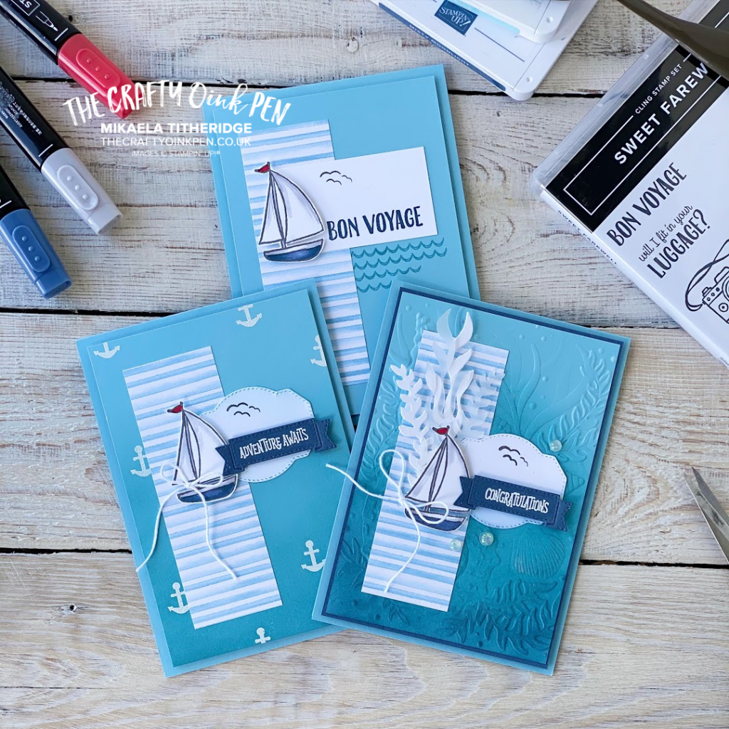 Stampin' Up! Sweet Farewell for a set of cards where I step it up using the little Sail Boat