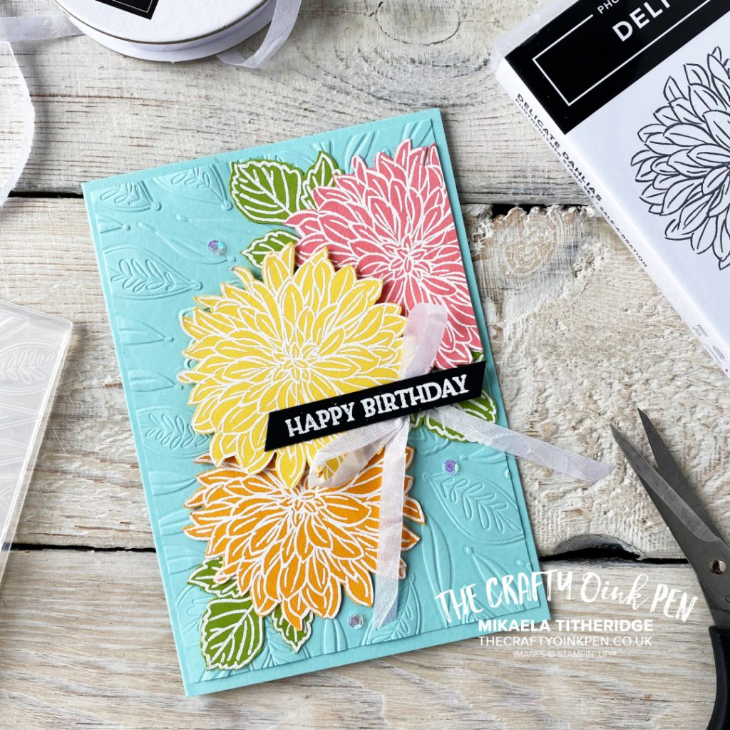 FREE Delicate Dahlias Stamp set for a Fancy Floral handmade card