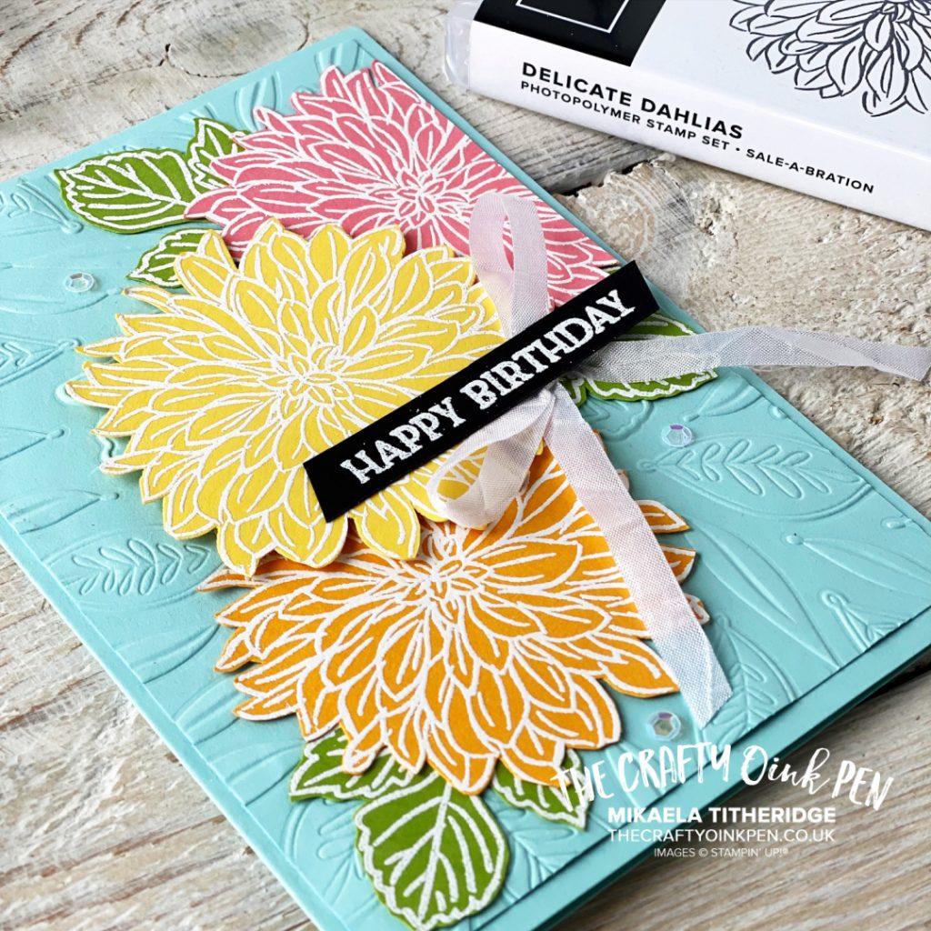 Delicate Dahlias Heat Embossed floral card