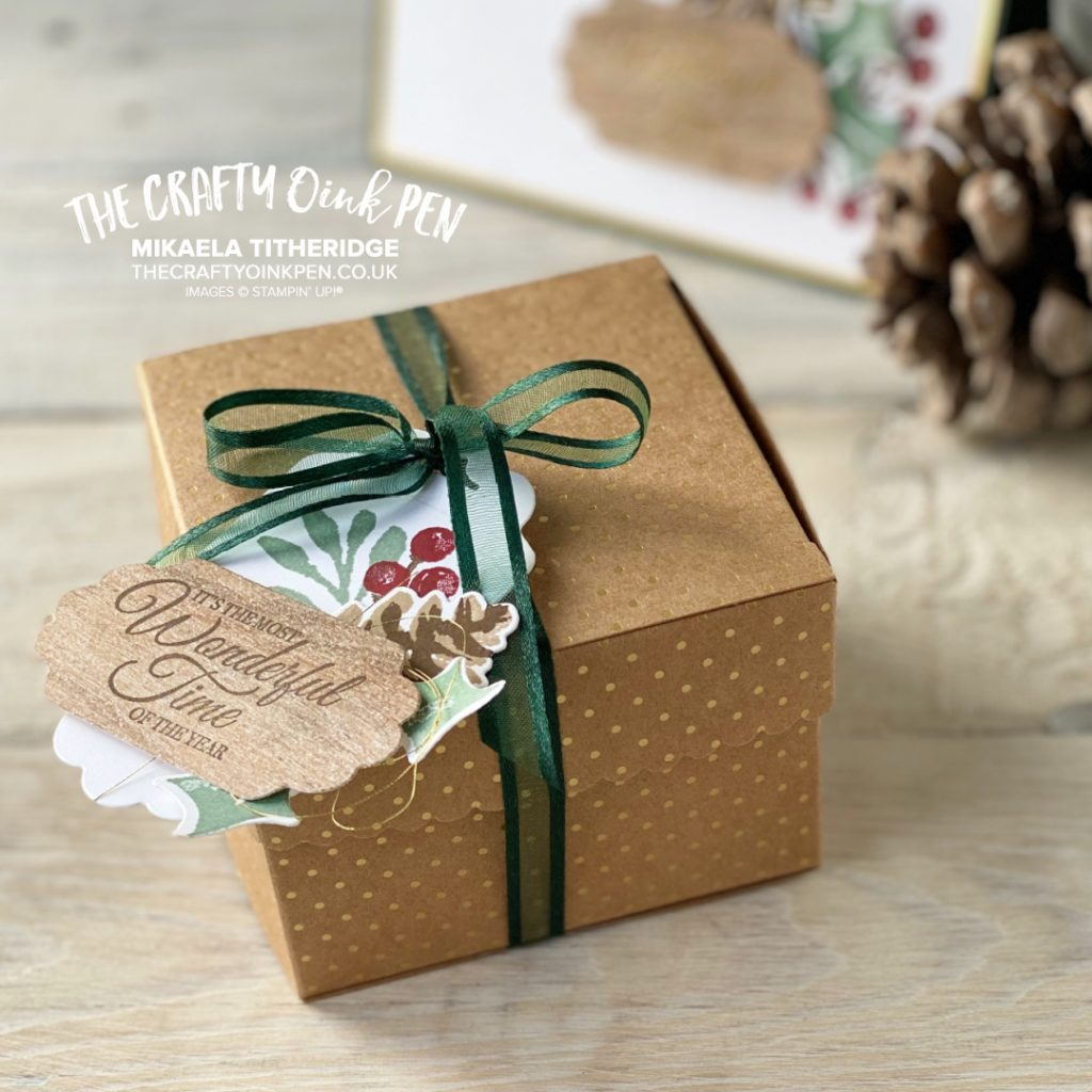 OSAT Painted Christmas Season Gift Box with Pine Cones
