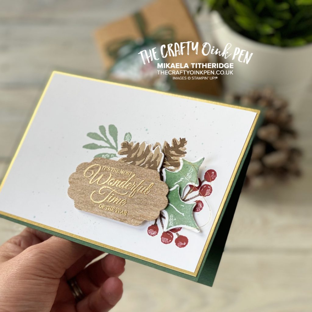 OSAT Painted Christmas Season Card with Pine Cones and Holly