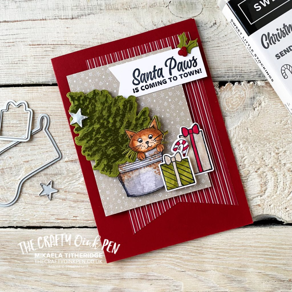 Cat Christmas Card with Tree by The Crafty oINK Pen using Stampin' Up! Products