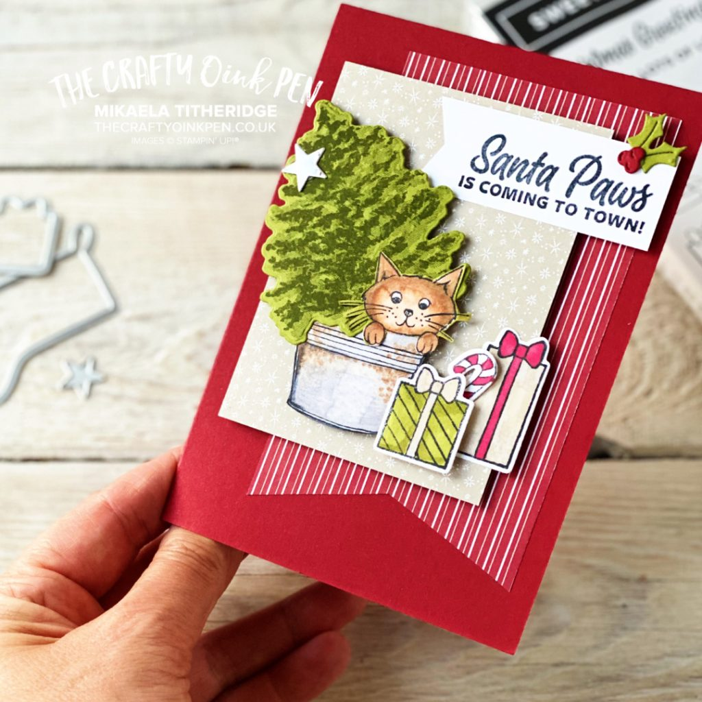 Cat in Christmas Tree Card by The Crafty oINK Pen using Stampin' Up! Sweet Little Stockings