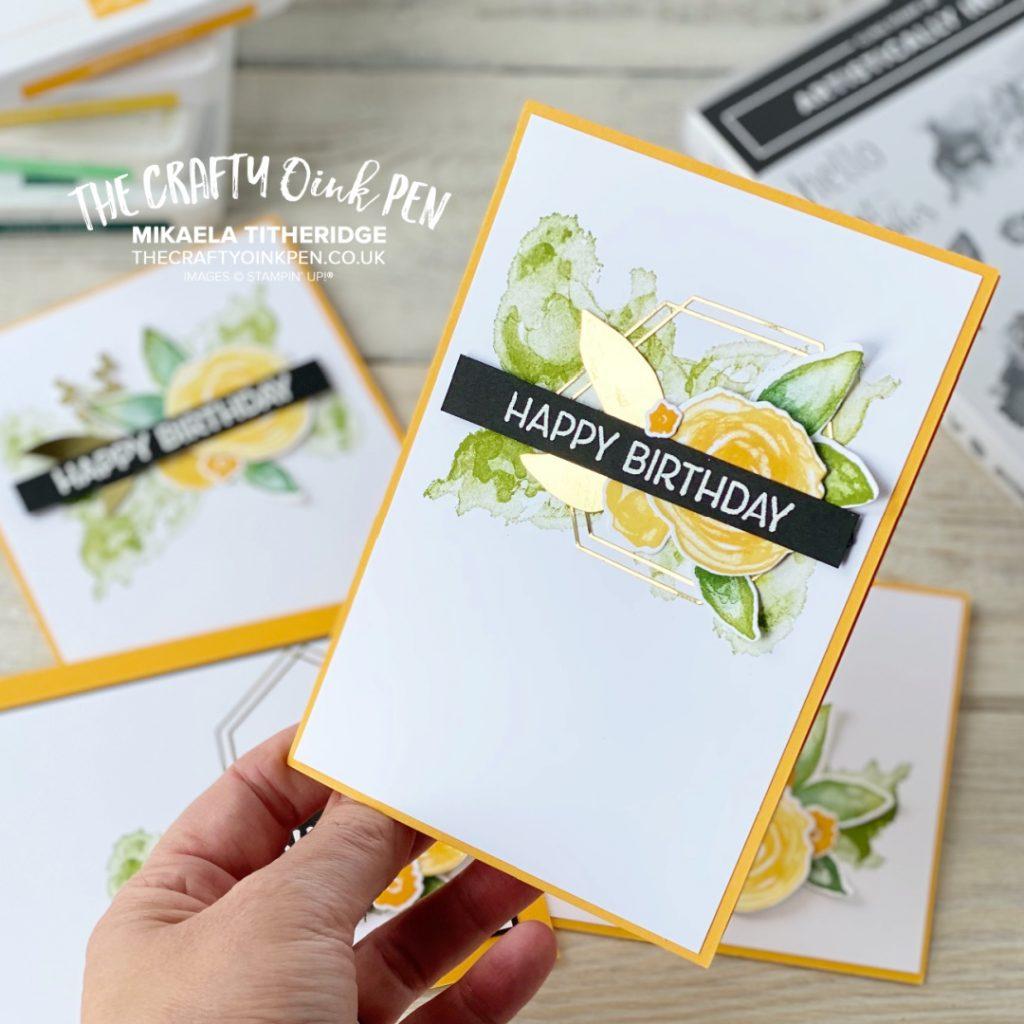 Artistically Inked floral Happy Birthday card