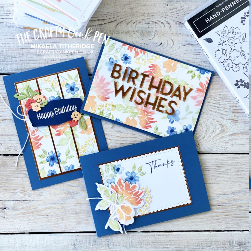 Handmade Greetings cards using Hand-Penned Petals, Copper Lettering