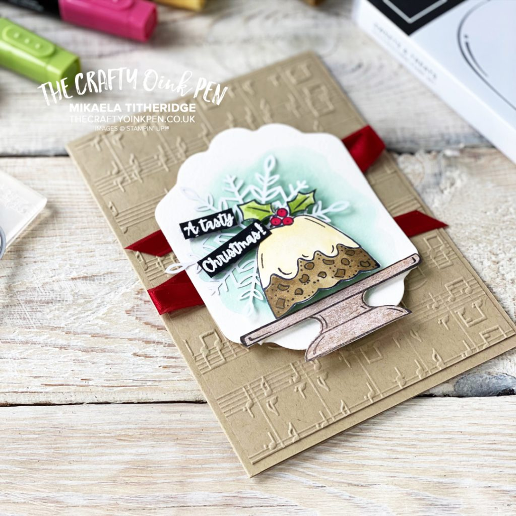Handmade Greetings Card using Sweets and Treats and a Christmas Pudding and Merry Melody