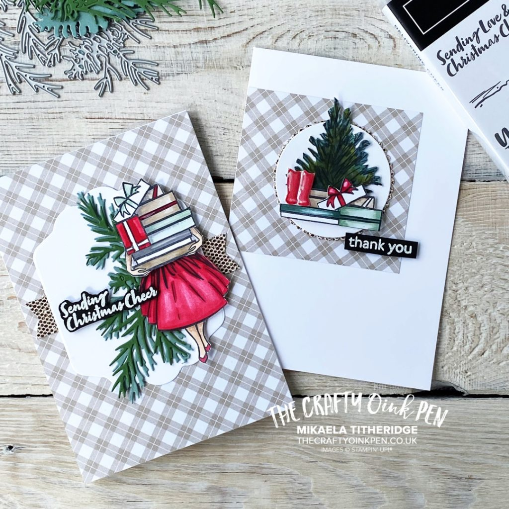 Stampin' Up! Delivering Cheer Stamp Set used to create Christmas and Thank you card