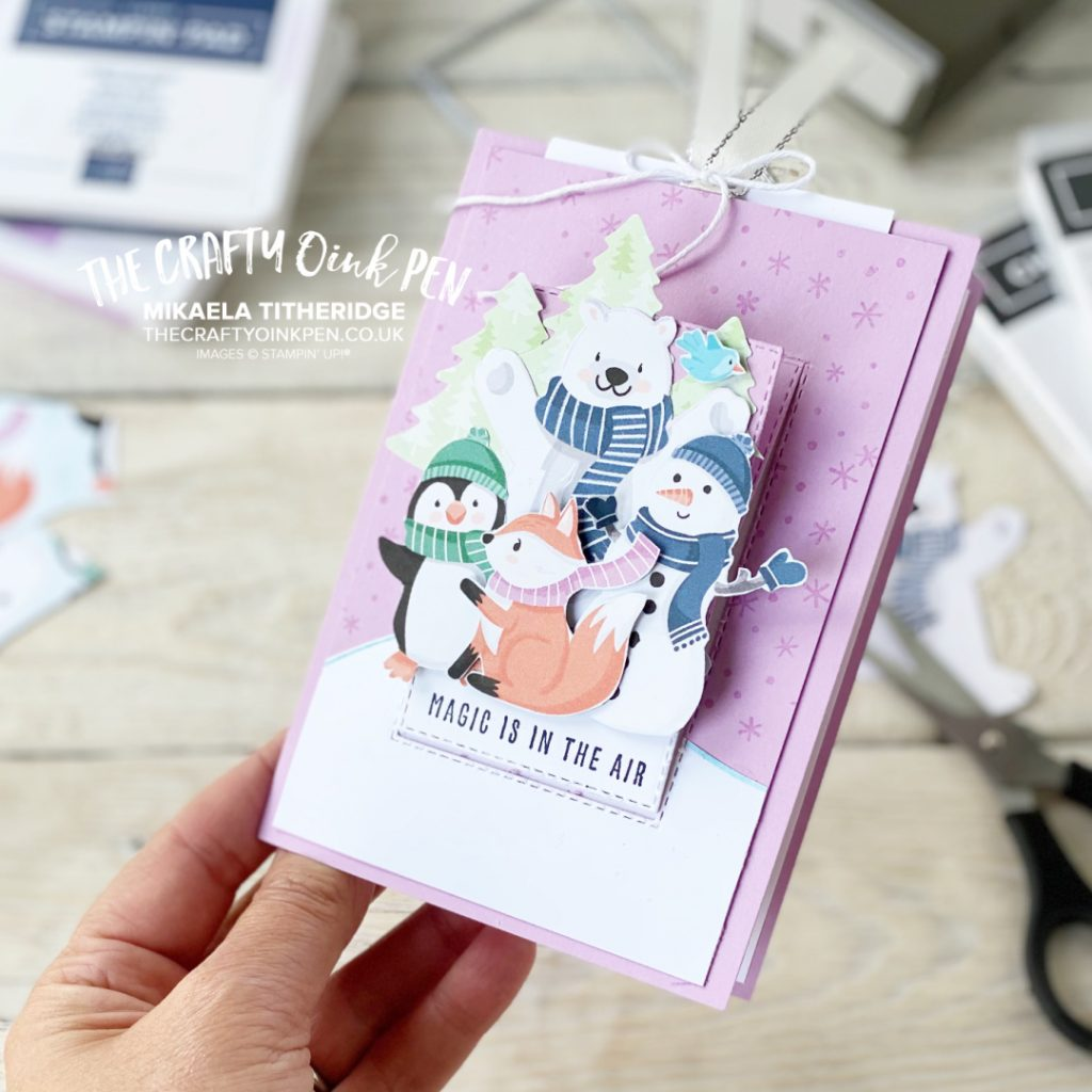 Playful Penguins DSP for a Pop up slider card by The Crafty Oink Pen