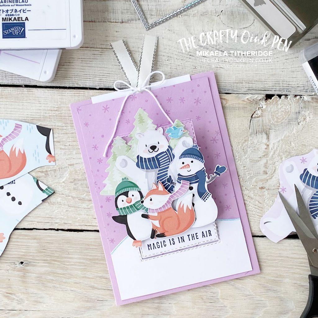 Stampin' Up! Playful Penguins Paper for a Pop up Slider Card