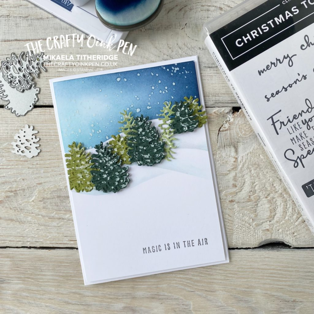 Snow capped mountain scene using Christmas to Remember and Pinecones