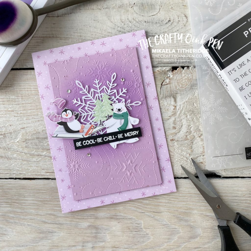 Playful Penguin Playmates and Penguin place for a Snowflake Christmas card by The Crafty OINK Pen